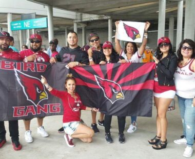 Birdgang with banners